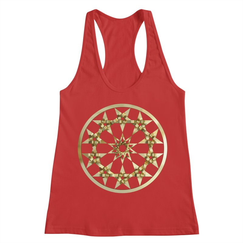 12 Woven 5 Pointed Stars Gold Women's Racerback Tank by diamondheart's Artist Shop