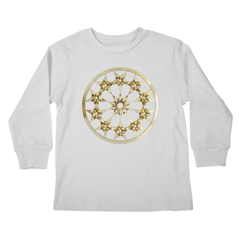 12 Woven 5 Pointed Stars Gold Kids Longsleeve T-Shirt by diamondheart's Artist Shop