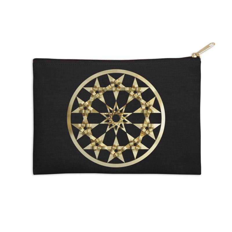 12 Woven 5 Pointed Stars Gold Accessories Zip Pouch by diamondheart's Artist Shop