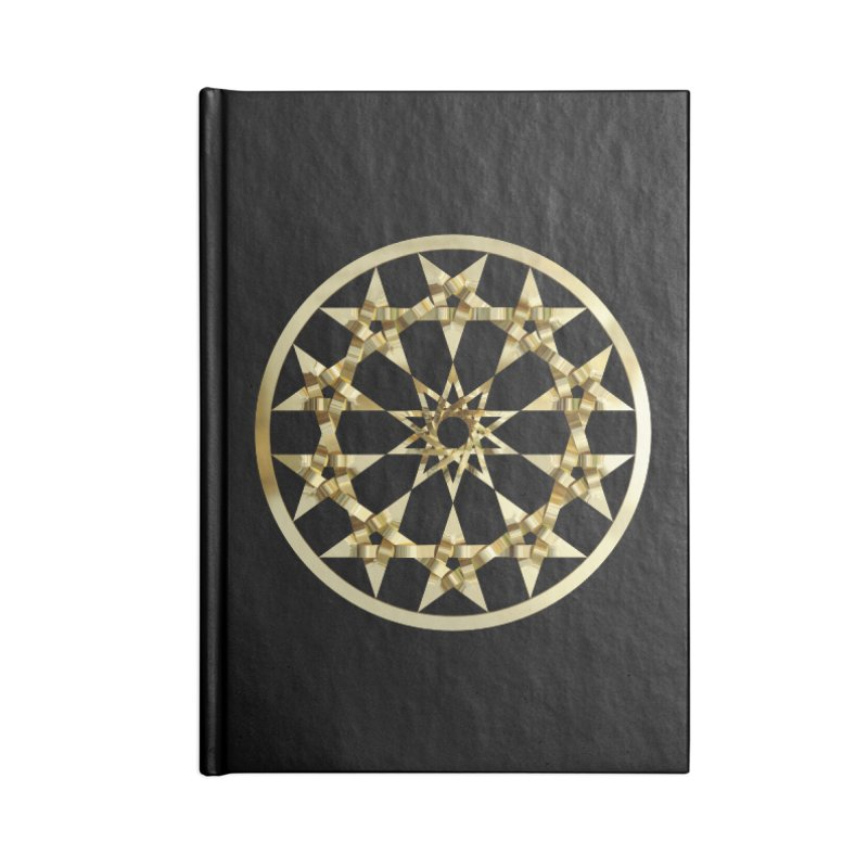 12 Woven 5 Pointed Stars Gold Accessories Lined Journal Notebook by diamondheart's Artist Shop