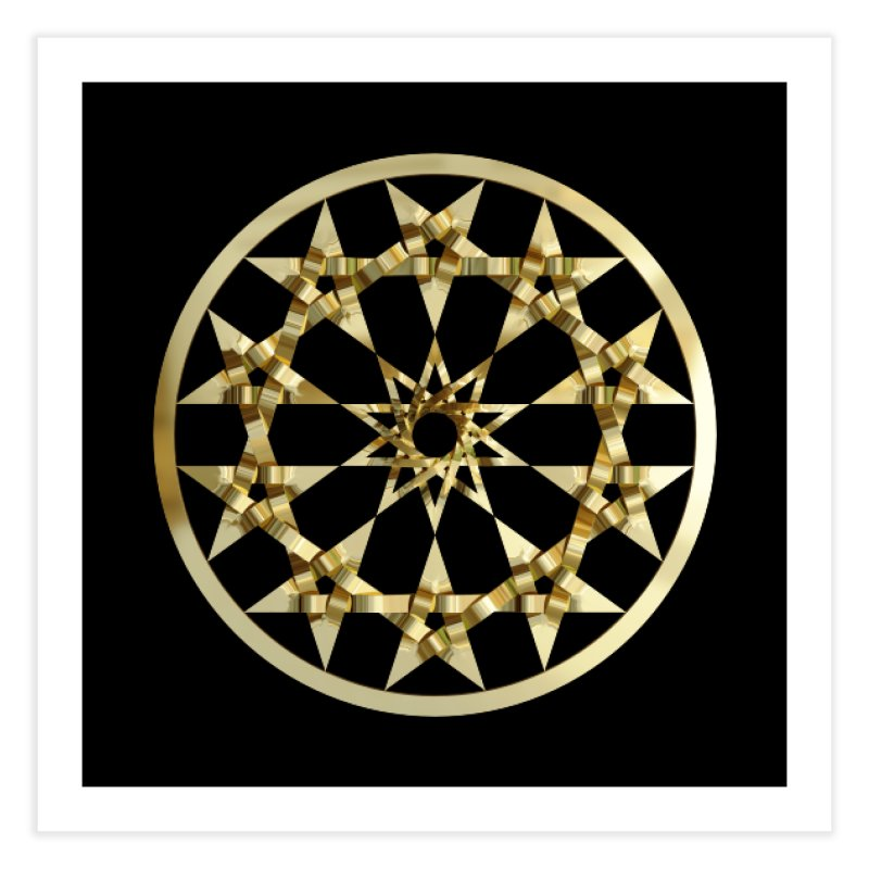 12 Woven 5 Pointed Stars Gold Home Fine Art Print by diamondheart's Artist Shop
