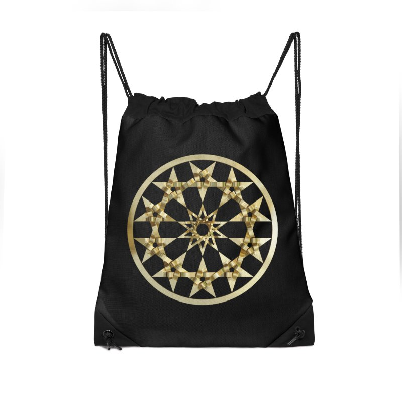 12 Woven 5 Pointed Stars Gold Accessories Drawstring Bag Bag by diamondheart's Artist Shop
