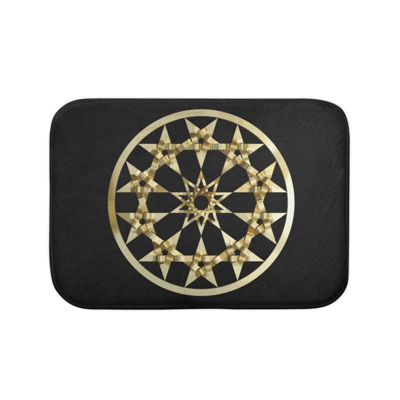 12 Woven 5 Pointed Stars Gold Home Bath Mat by diamondheart's Artist Shop