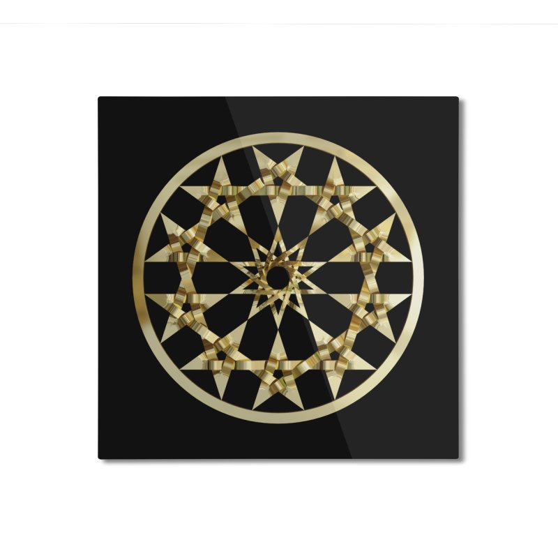 12 Woven 5 Pointed Stars Gold Home Mounted Aluminum Print by diamondheart's Artist Shop