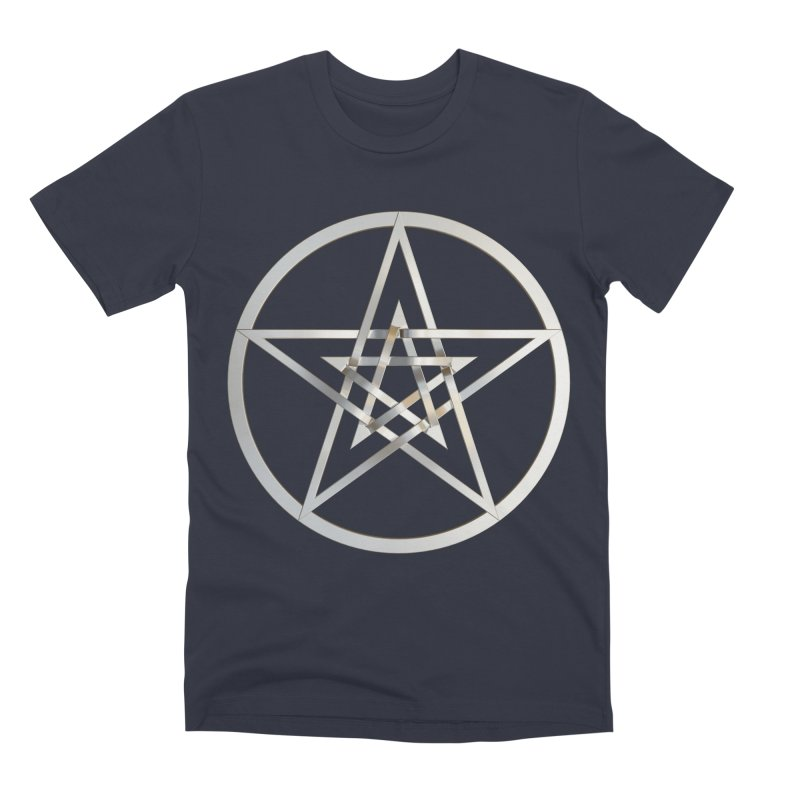 Double Pentacles Silver Men's Premium T-Shirt by diamondheart's Artist Shop