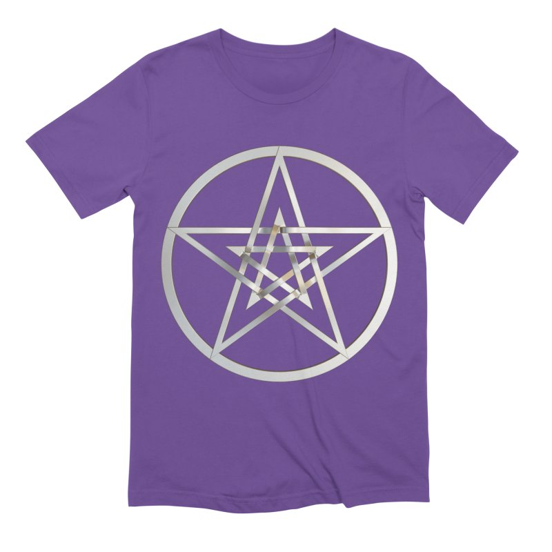 Double Pentacles Silver Men's Extra Soft T-Shirt by diamondheart's Artist Shop