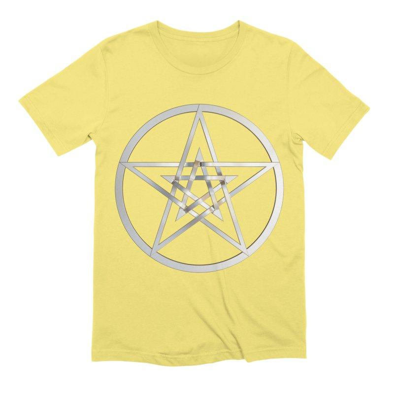 Double Pentacles Silver Men's Extra Soft T-Shirt by diamondheart's Artist Shop