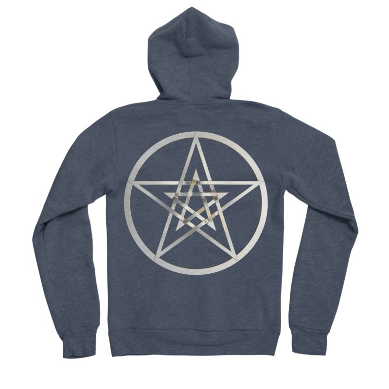 Double Pentacles Silver Men's Sponge Fleece Zip-Up Hoody by diamondheart's Artist Shop