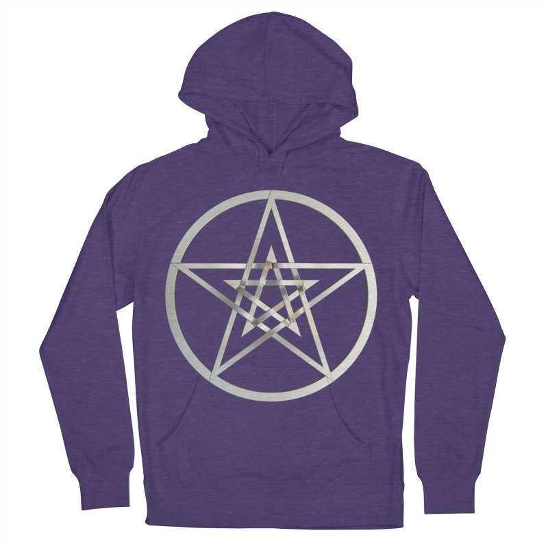 Double Pentacles Silver Men's French Terry Pullover Hoody by diamondheart's Artist Shop