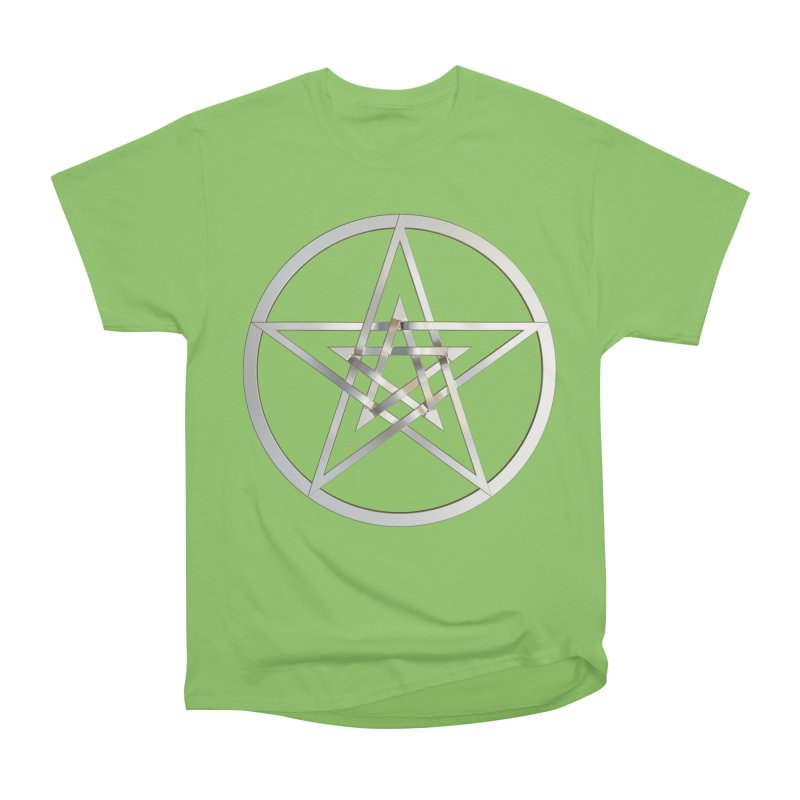 Double Pentacles Silver Men's Heavyweight T-Shirt by diamondheart's Artist Shop