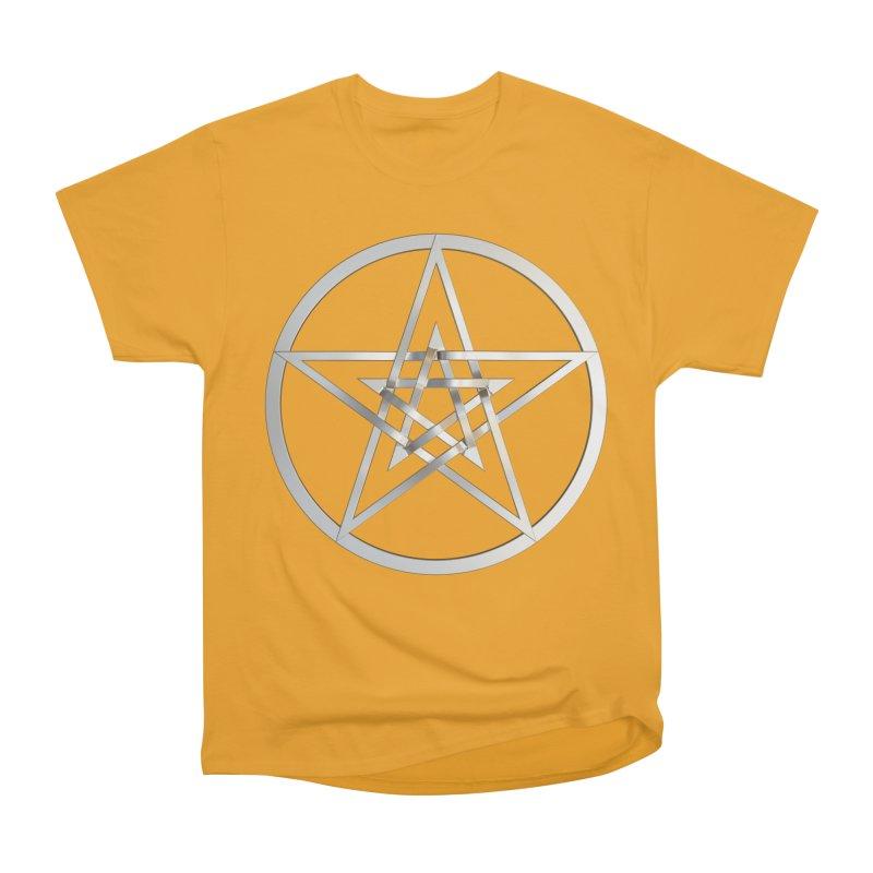 Double Pentacles Silver Men's Heavyweight T-Shirt by diamondheart's Artist Shop