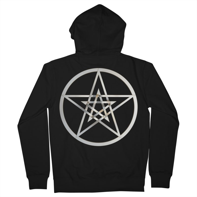 Double Pentacles Silver Men's French Terry Zip-Up Hoody by diamondheart's Artist Shop