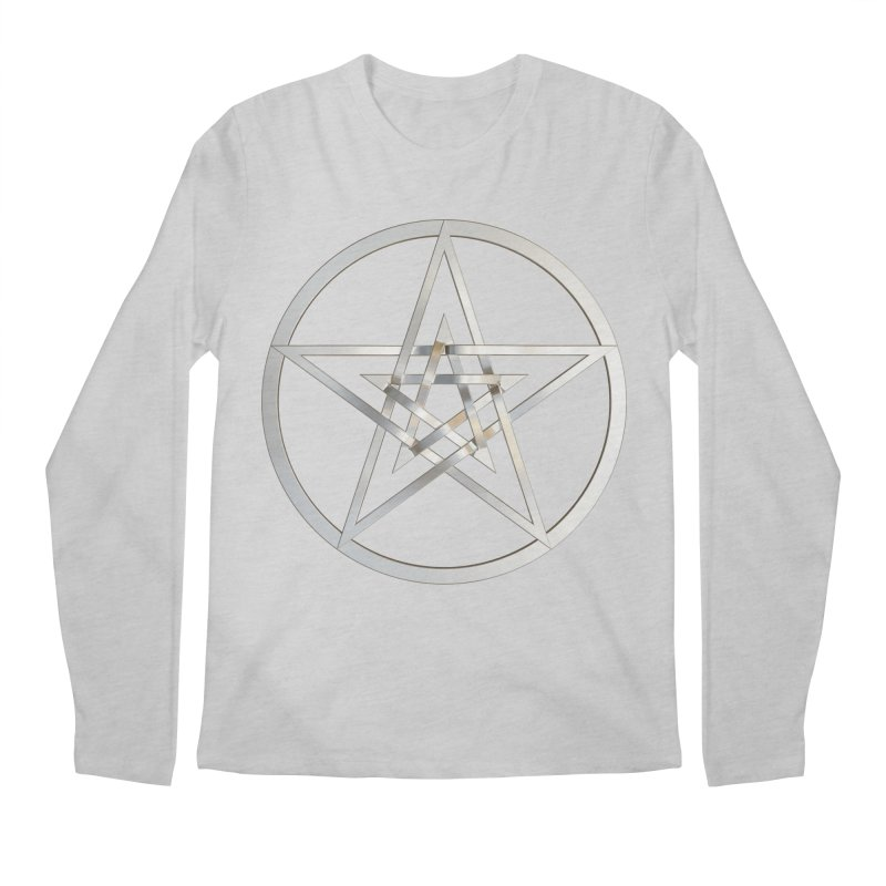 Double Pentacles Silver Men's Regular Longsleeve T-Shirt by diamondheart's Artist Shop