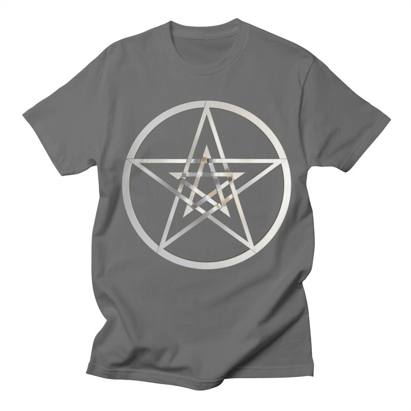 Double Pentacles Silver Men's T-Shirt by diamondheart's Artist Shop
