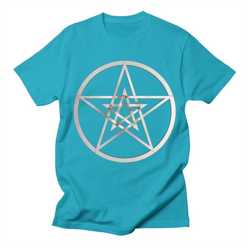 Double Pentacles Silver Men's Regular T-Shirt by diamondheart's Artist Shop