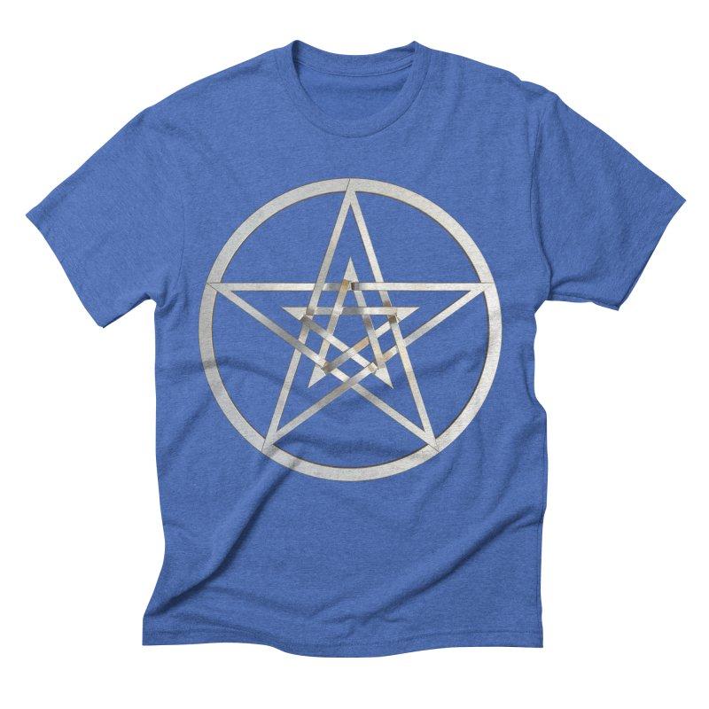 Double Pentacles Silver Men's Triblend T-Shirt by diamondheart's Artist Shop