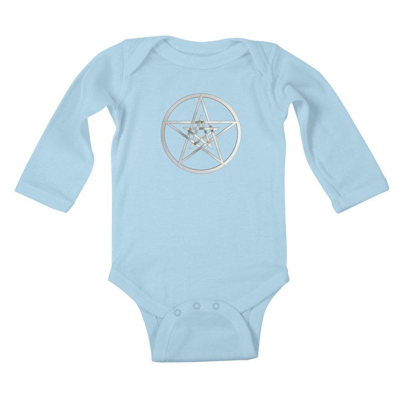 Double Pentacles Silver Kids Baby Longsleeve Bodysuit by diamondheart's Artist Shop