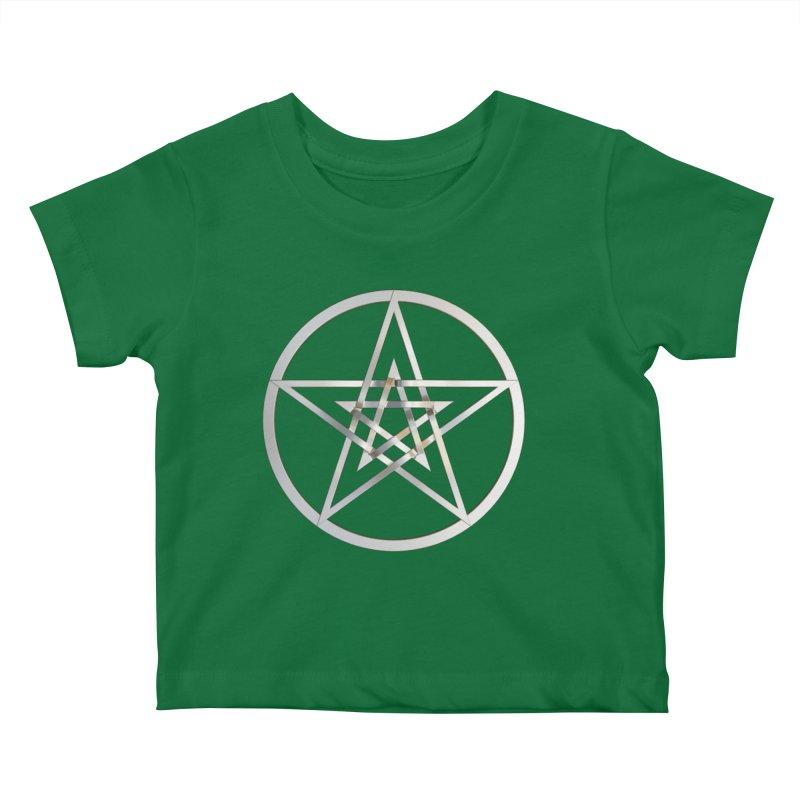 Double Pentacles Silver Kids Baby T-Shirt by diamondheart's Artist Shop