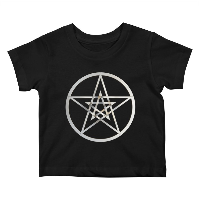Double Pentacles Silver Kids Baby T-Shirt by diamondheart's Artist Shop