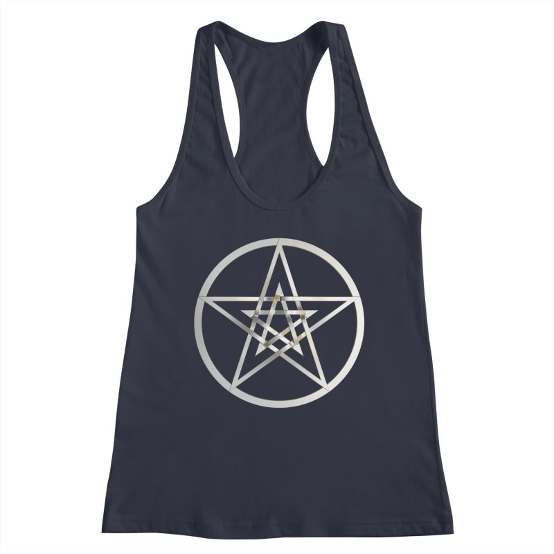 Double Pentacles Silver Women's Racerback Tank by diamondheart's Artist Shop