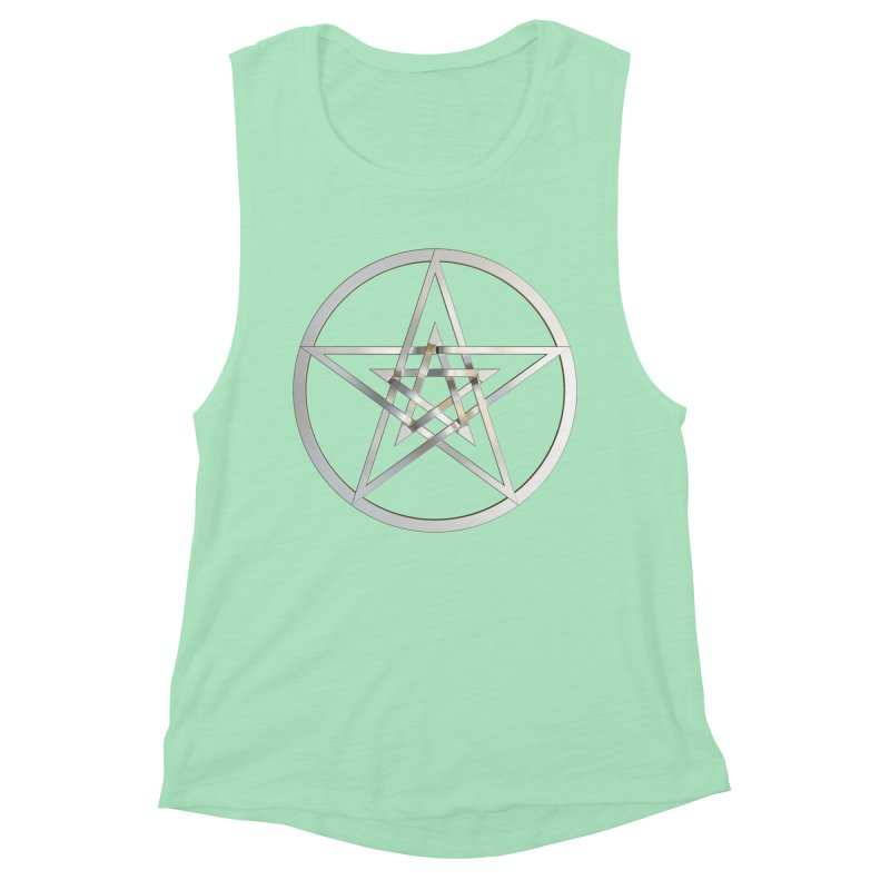 Double Pentacles Silver Women's Muscle Tank by diamondheart's Artist Shop