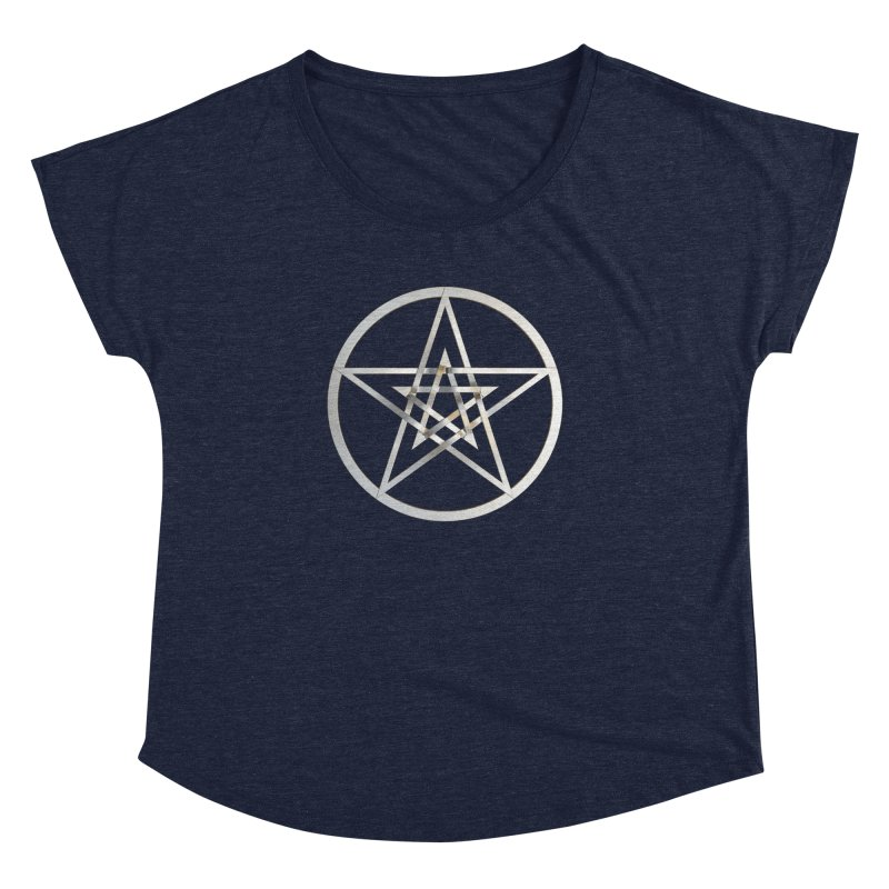 Double Pentacles Silver Women's Dolman Scoop Neck by diamondheart's Artist Shop