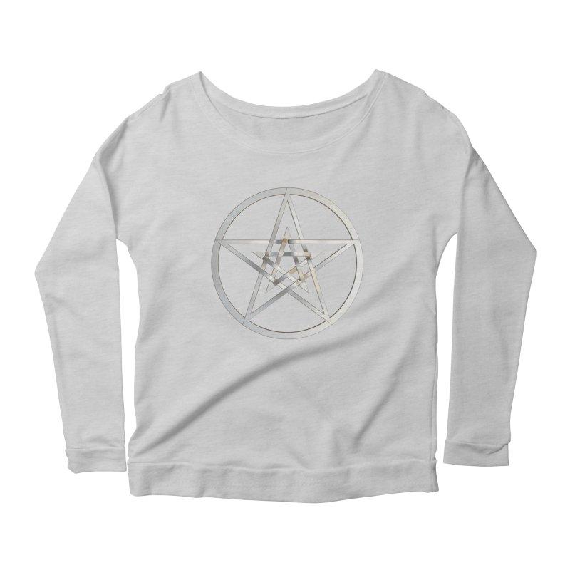 Double Pentacles Silver Women's Scoop Neck Longsleeve T-Shirt by diamondheart's Artist Shop