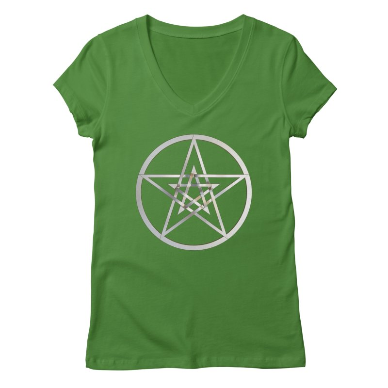 Double Pentacles Silver Women's Regular V-Neck by diamondheart's Artist Shop