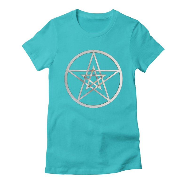 Double Pentacles Silver Women's Fitted T-Shirt by diamondheart's Artist Shop
