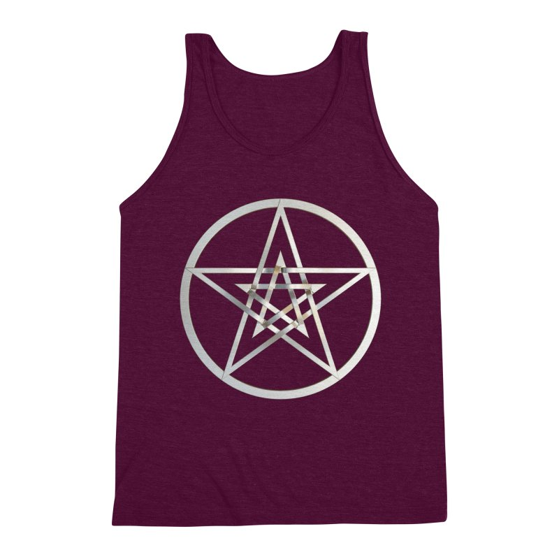 Double Pentacles Silver Men's Triblend Tank by diamondheart's Artist Shop