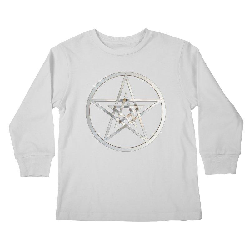 Double Pentacles Silver Kids Longsleeve T-Shirt by diamondheart's Artist Shop