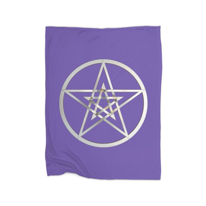 Double Pentacles Silver Home Fleece Blanket Blanket by diamondheart's Artist Shop
