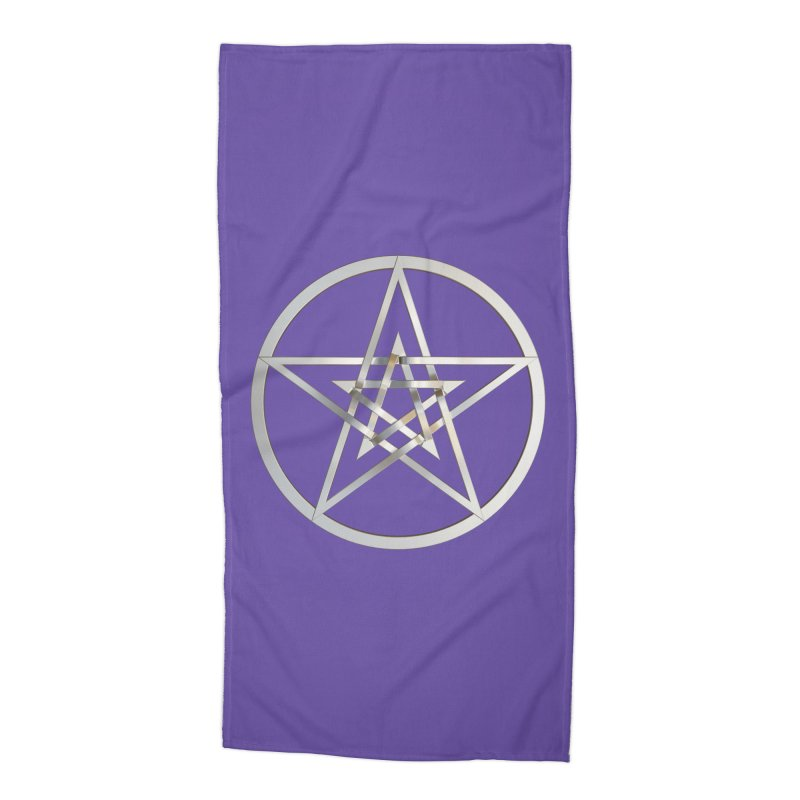 Double Pentacles Silver Accessories Beach Towel by diamondheart's Artist Shop