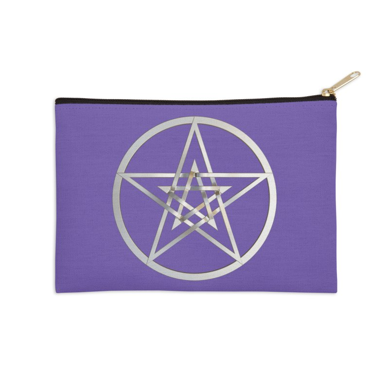 Double Pentacles Silver Accessories Zip Pouch by diamondheart's Artist Shop