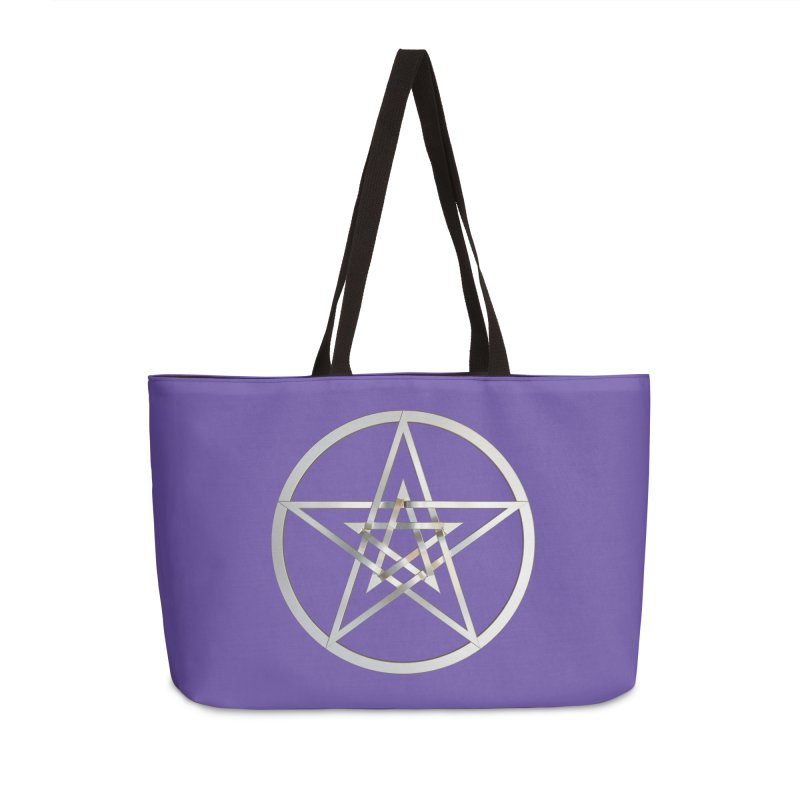 Double Pentacles Silver Accessories Weekender Bag Bag by diamondheart's Artist Shop