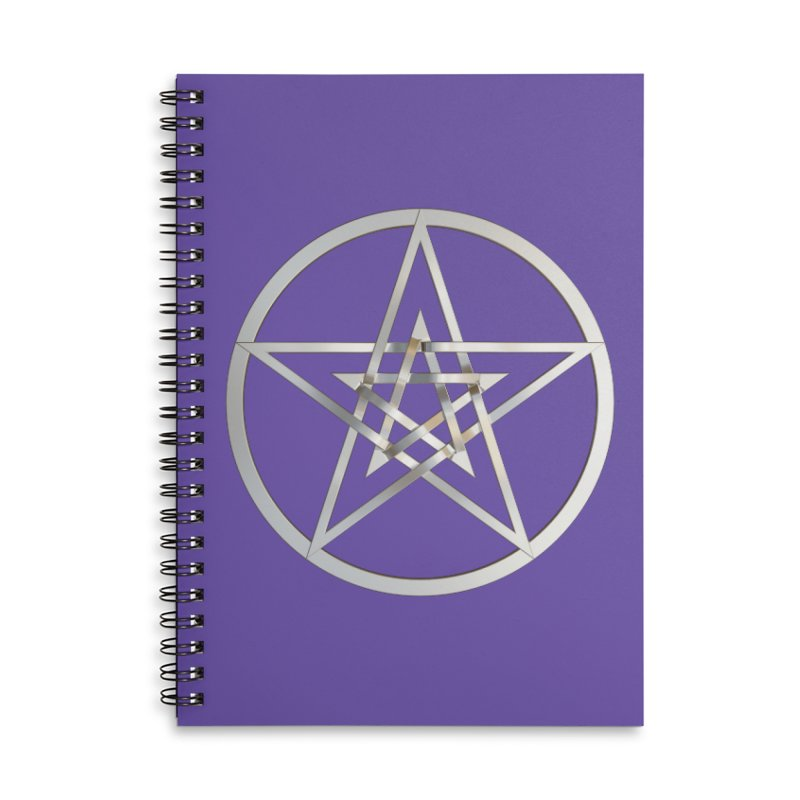 Double Pentacles Silver Accessories Lined Spiral Notebook by diamondheart's Artist Shop