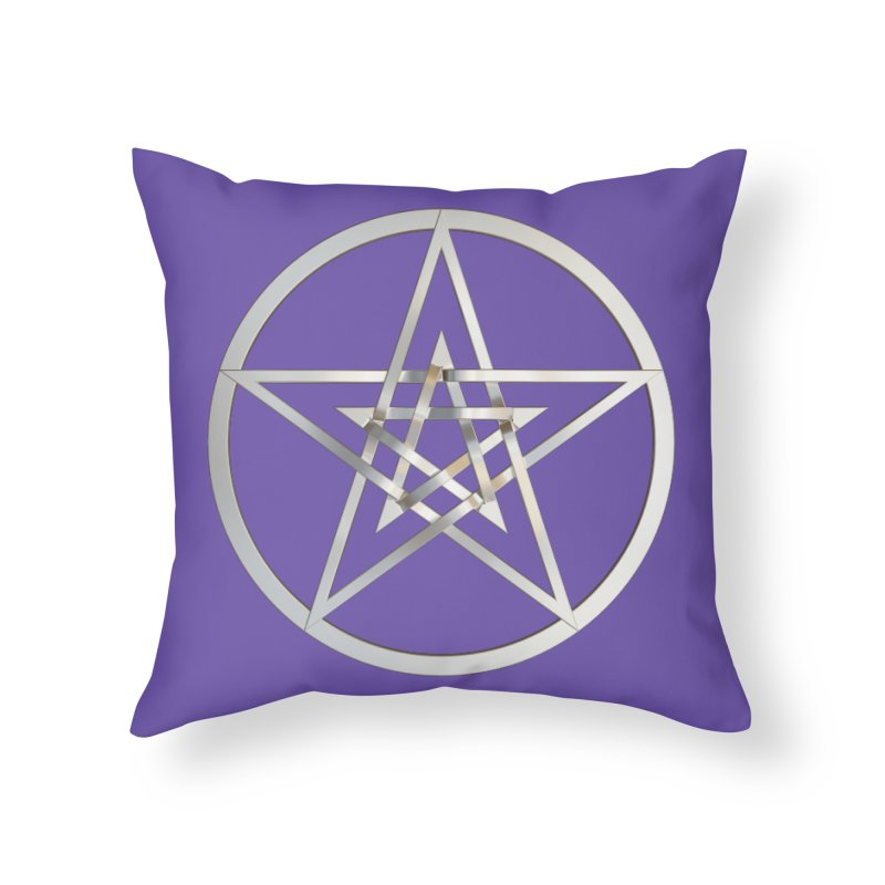Double Pentacles Silver Home Throw Pillow by diamondheart's Artist Shop