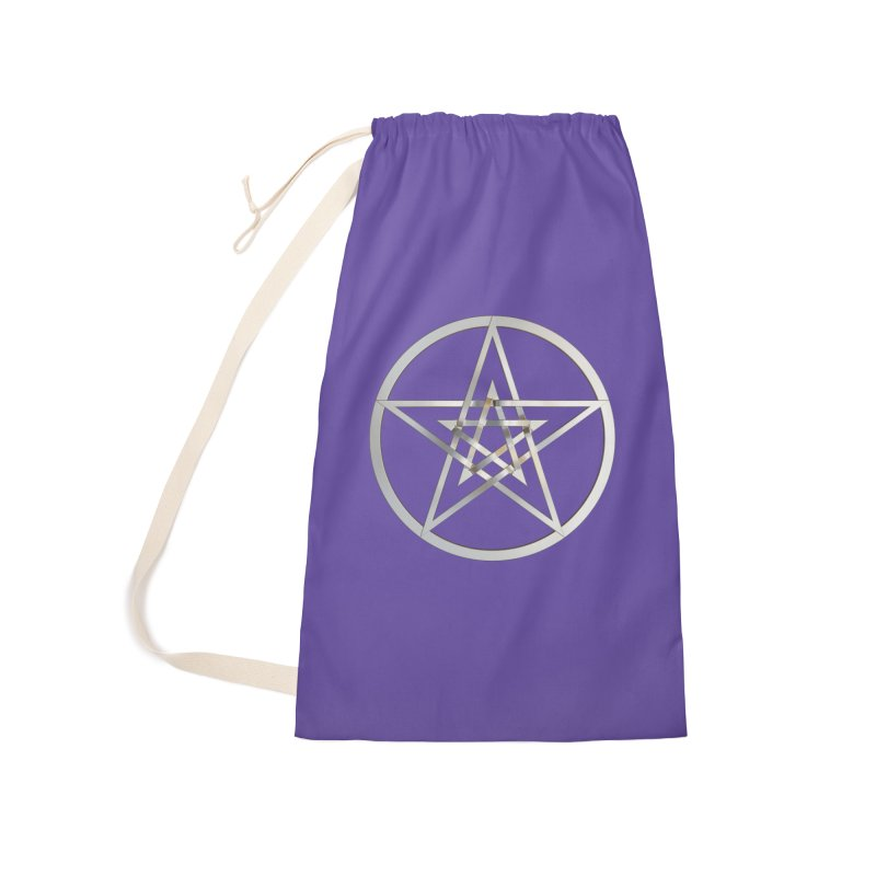 Double Pentacles Silver Accessories Laundry Bag Bag by diamondheart's Artist Shop