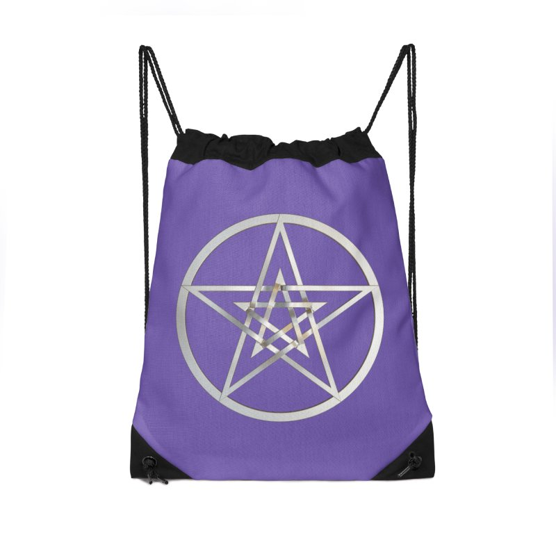 Double Pentacles Silver Accessories Drawstring Bag Bag by diamondheart's Artist Shop