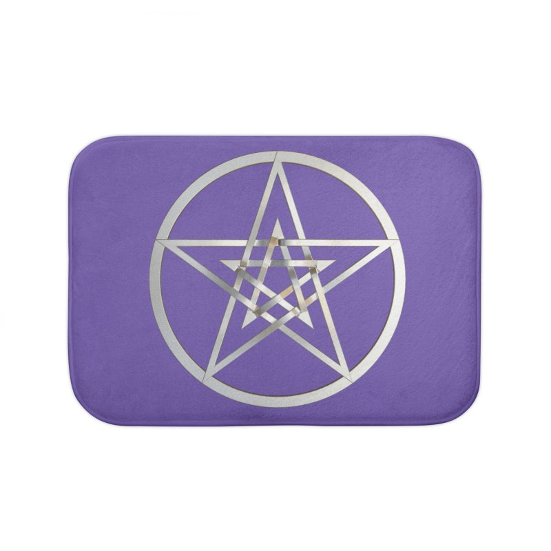 Double Pentacles Silver Home Bath Mat by diamondheart's Artist Shop