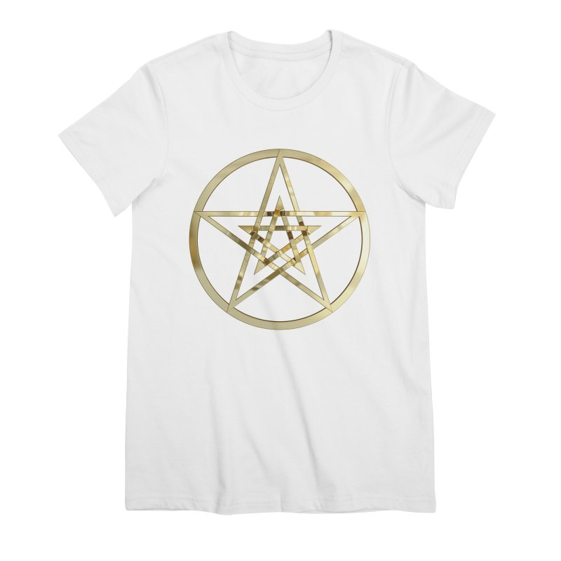 Double Pentacles Gold Women's Premium T-Shirt by diamondheart's Artist Shop