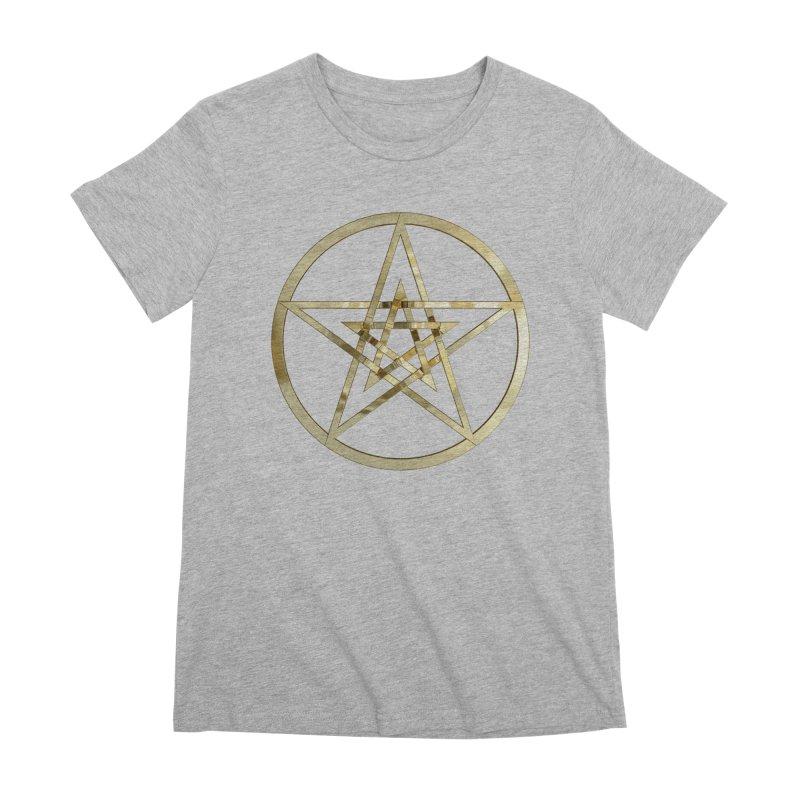 Double Pentacles Gold Women's Premium T-Shirt by diamondheart's Artist Shop