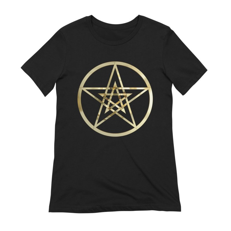 Double Pentacles Gold Women's Extra Soft T-Shirt by diamondheart's Artist Shop