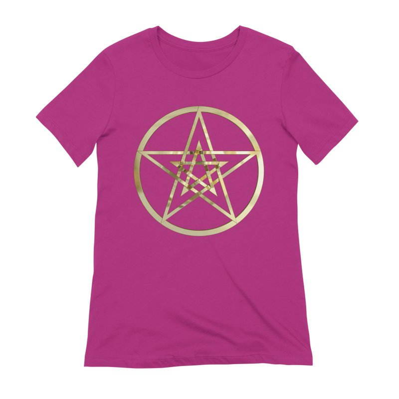 Double Pentacles Gold Women's Extra Soft T-Shirt by diamondheart's Artist Shop