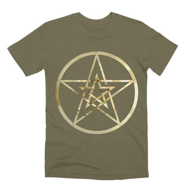 Double Pentacles Gold Men's Premium T-Shirt by diamondheart's Artist Shop