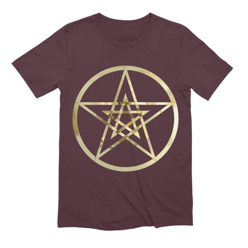 Double Pentacles Gold Men's Extra Soft T-Shirt by diamondheart's Artist Shop