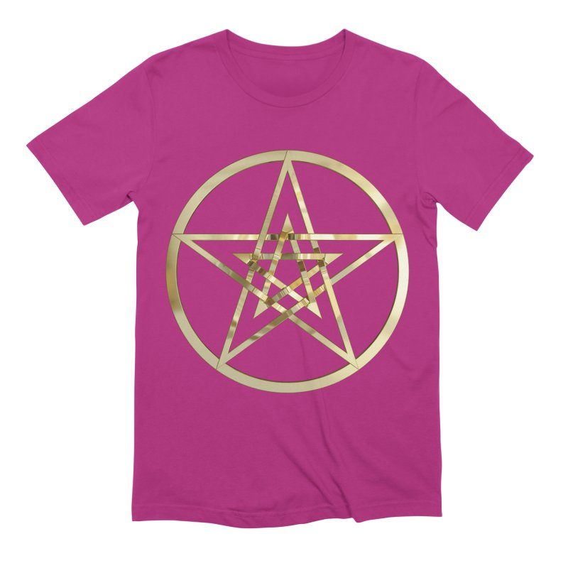 Double Pentacles Gold Men's Extra Soft T-Shirt by diamondheart's Artist Shop