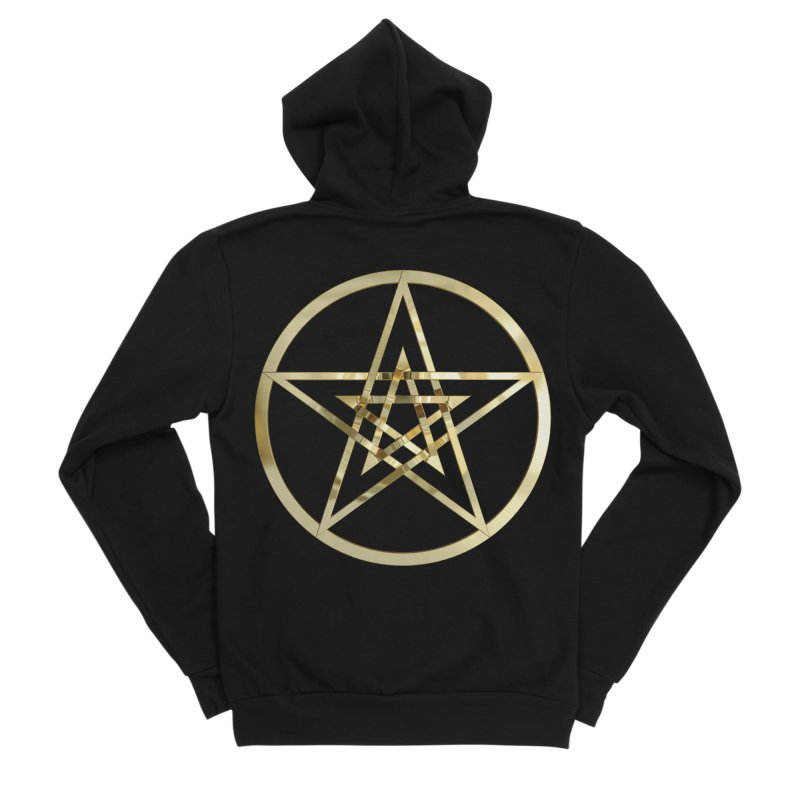 Double Pentacles Gold Women's Sponge Fleece Zip-Up Hoody by diamondheart's Artist Shop
