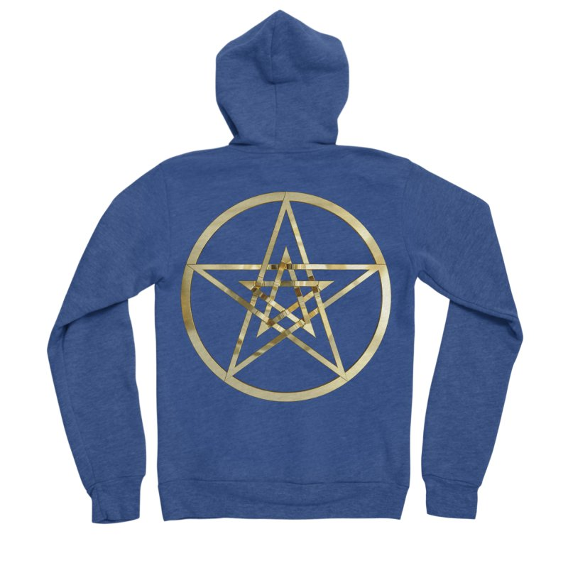 Double Pentacles Gold Men's Sponge Fleece Zip-Up Hoody by diamondheart's Artist Shop