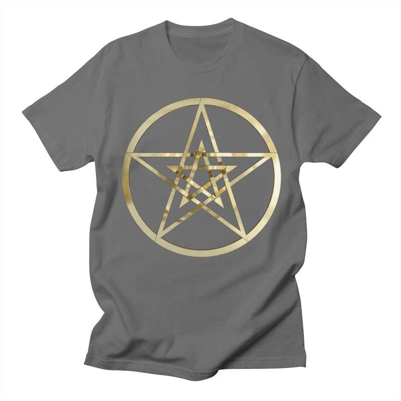 Double Pentacles Gold Men's T-Shirt by diamondheart's Artist Shop